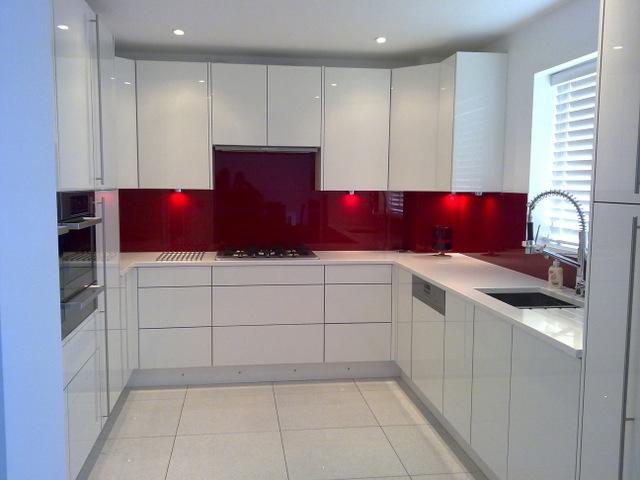 White Kitchen Red Splashback plain white kitchen red tiles island cabinets design wall color