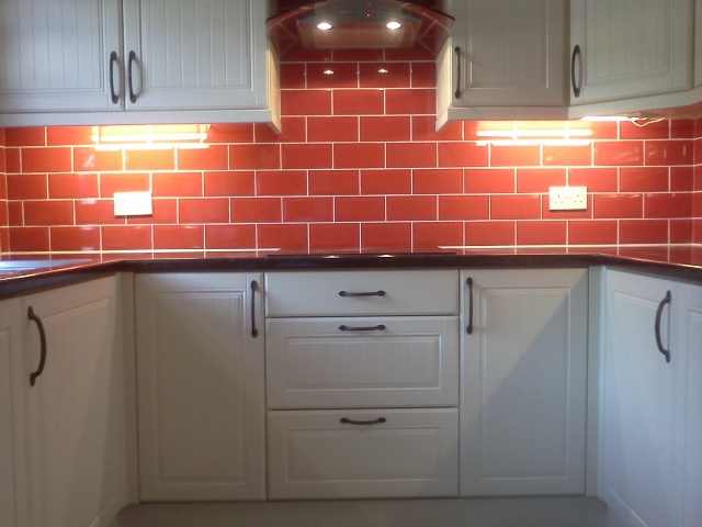White Kitchen Red Tiles photo gallery | best quality fitting ltd.